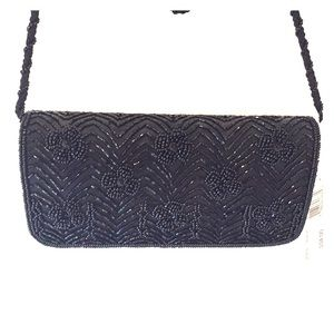 NWT LA RAGALE  Black Beaded Evening Bag